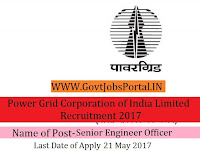 Power Grid Corporation of India Limited Recruitment 2017– Senior Engineer