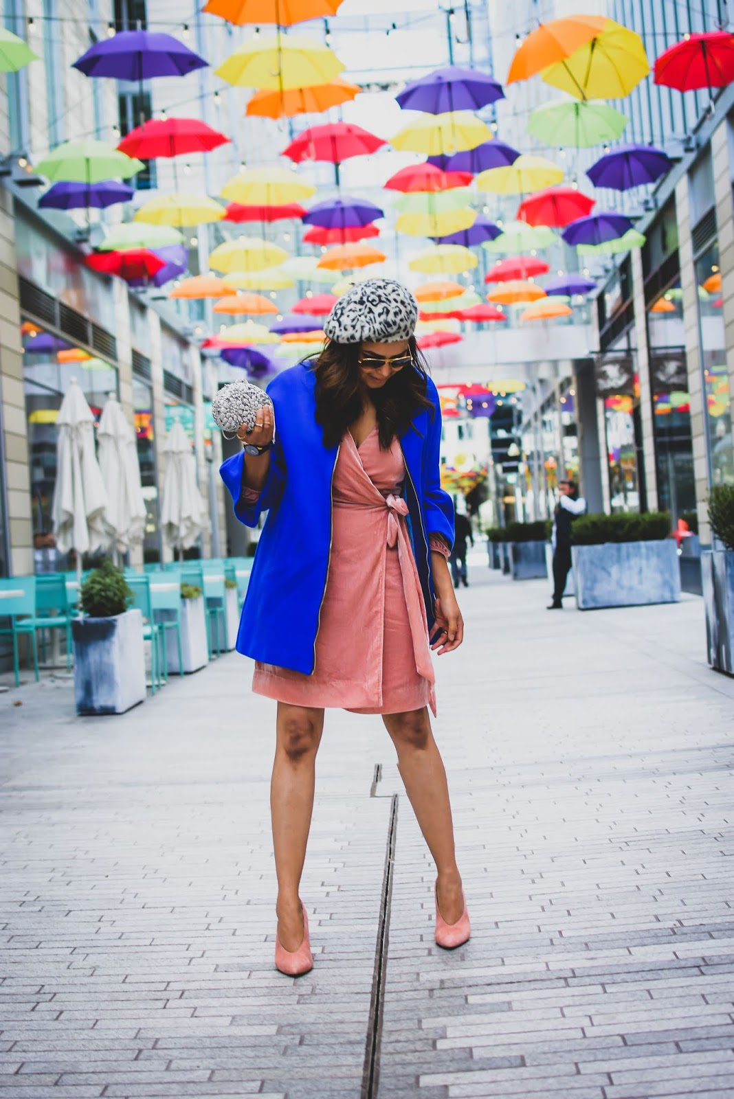 holiday dressing on a budget, velvet dress , party dress, peach dress, j crew wrap dress, suede pumps, blue peplum jacket, silver clutch, animal print beret, myriad musings