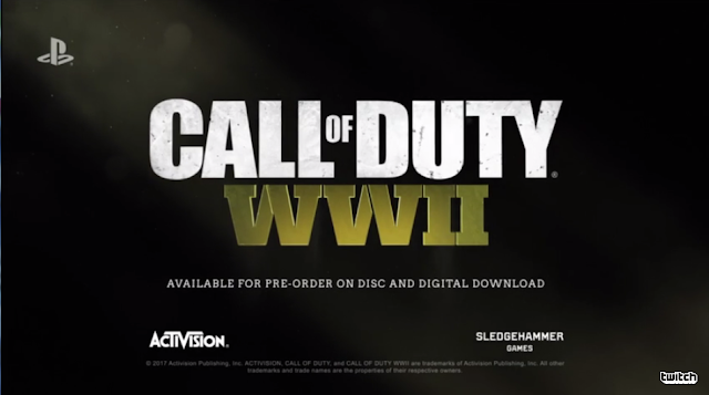 Call of Duty WWII title card screen Activision Sledgehammer Games World War II