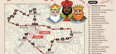 Horario e Itinerario de la Cabalgara de Reyes Magos de Tomares (Sevilla) 2019