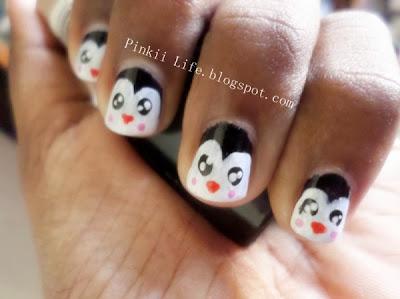 pinkii life♡♥  cute easy simple nail art the penguin
