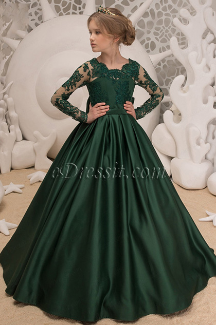 Green Empire Lace Long Wedding Flower Girl Dress
