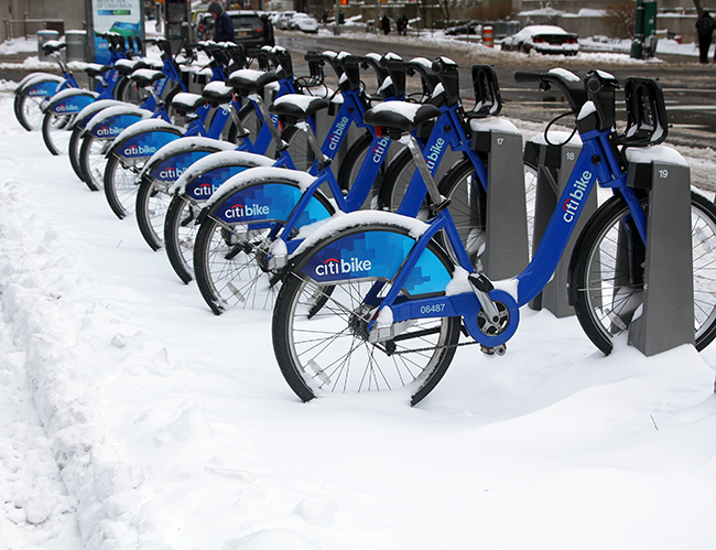NYC Winter, Citibikes in snow, Blizzard of 2015
