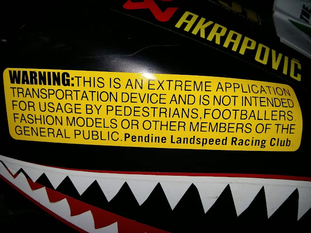 WARNING: This is an Extreme Application Transportation Device and is not intended for usage by Pedestrians, Footballers, Fashion Models or other members of the General Public. Pendine Landspeed Racing Club - Image Evan Kelly