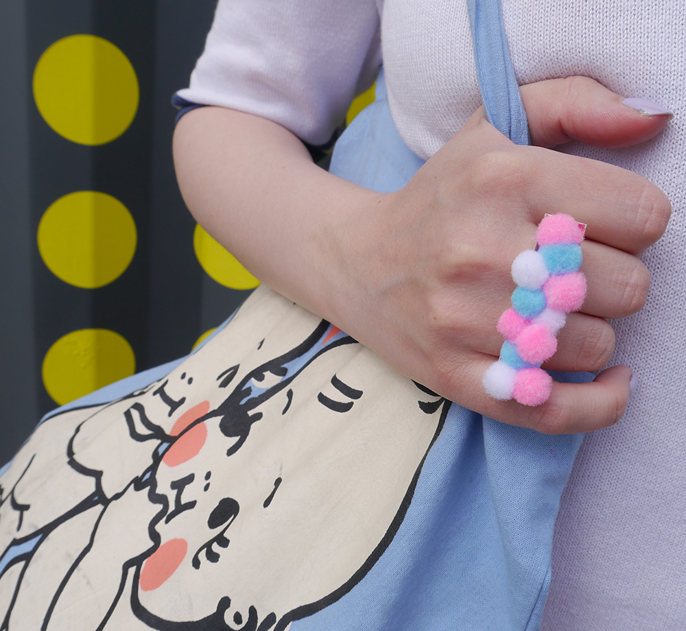 DIY pompom ring, Abandon Ship Apparel kewpies tote bag, colourful blog photoshoot ideas scotland, scottish fashion blogger
