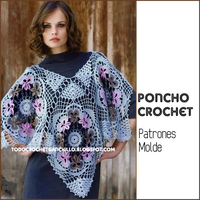 moldes y patrones de poncho tejido al crochet