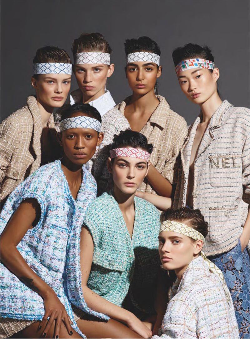 Adesuwa Aighewi, Kris Grikaite, Hyun Ji Shin, Sarah Dahl, Nora Attal, Rebecca Leigh Longendyke and Vittoria Ceretti front Chanel spring-summer 2019 campaign