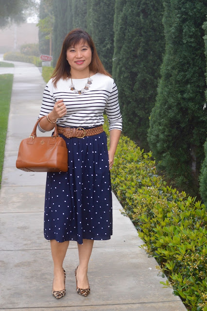 pattern mixing, Ann Taylor Striped tee