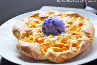 Mango Souffle Pancakes: light as a cloud and served with Ube Ice Cream at Manila Social Club
