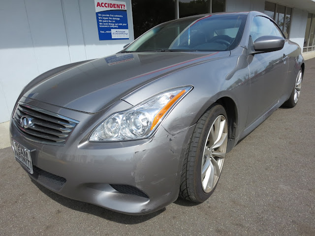 Infiniti G37 Coupe bumper and fender damage