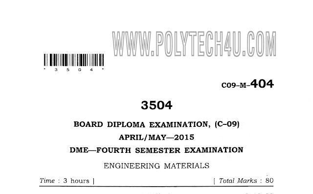 MATERIALS OLD QUESTION PAPER C-09 MECHANICAL