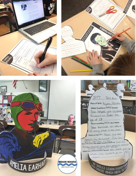 Students research famous people with a growth mindset during this project.  The end result is a 3D research project!