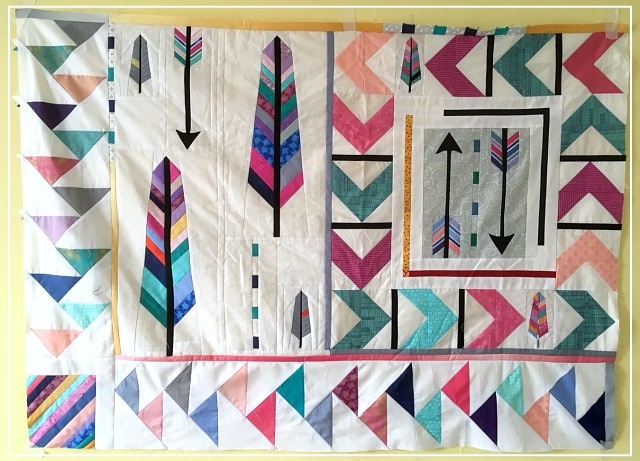 Puppilalla, Round Robin Quilt, Rakish Needle Robin, Foundation Paper Piecing, FPP, Arrow Quilt, Flying Geese