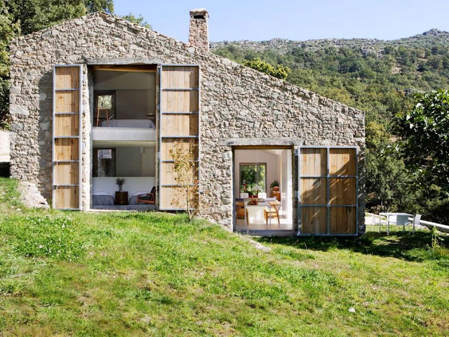 old stone barn converted to house spain countryside country farm stable modern decor