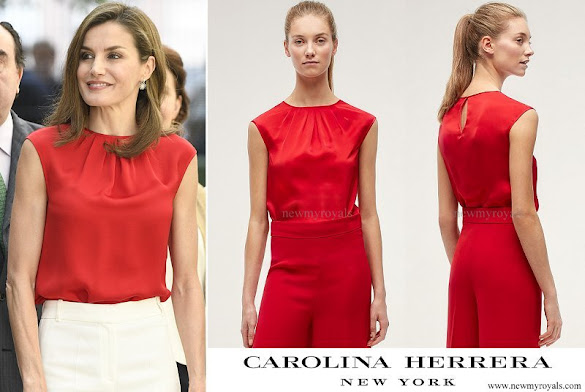 Queen Letizia wore Carolina Herrera Silk Sleeveless Top