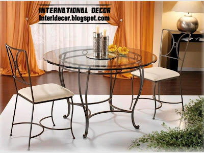 indoor iron dining table design and iron chairs