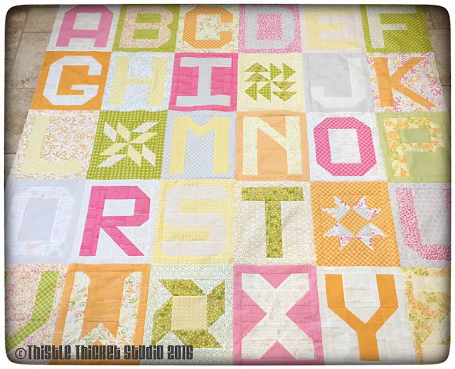 ABC quilt, Spell It With Moda, Moda Bake Shop Birthday QAL, Sunkissed fabric, Thistle Thicket Studio, quilts, quilting, letter quilt blocks
