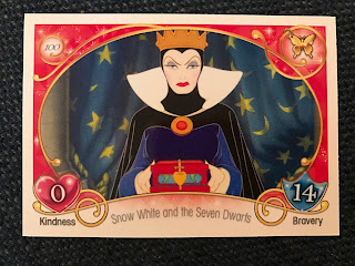Card 100 showing the Evil Queen from Disney's Snow White and the Seven Dwarfs with a Kindness Rating of 0 and Bravery Rating of 14