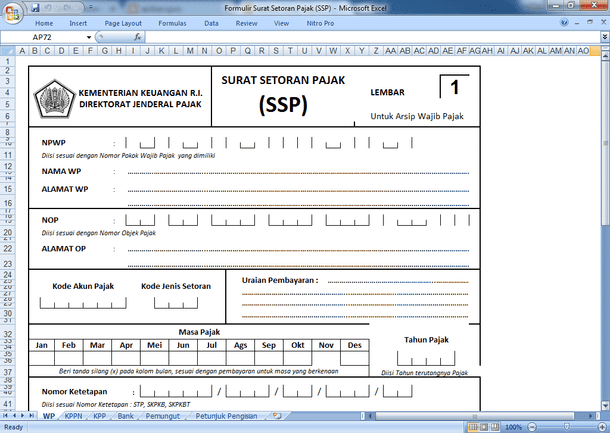 Formulir Surat Setoran Pajak (SSP) Format Microsoft Excel