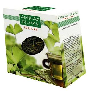 Imaginea cutiei ceaiului de Gingko (Ginko) Biloba frunze. Click pentru detalii