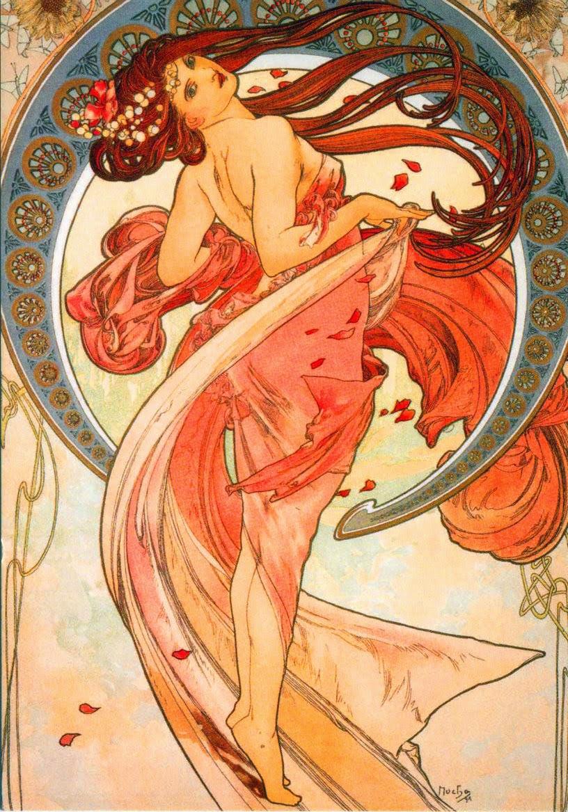 Dança - Alphonse Mucha e suas principais pinturas ~ (Art Nouveau) Tcheco