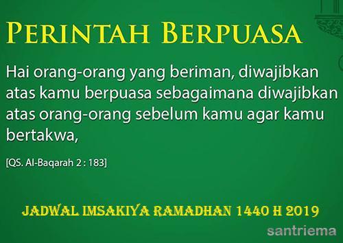 Jadwal Imsakiyah Bulan Ramadhan Waktu Imsak Hari Ini