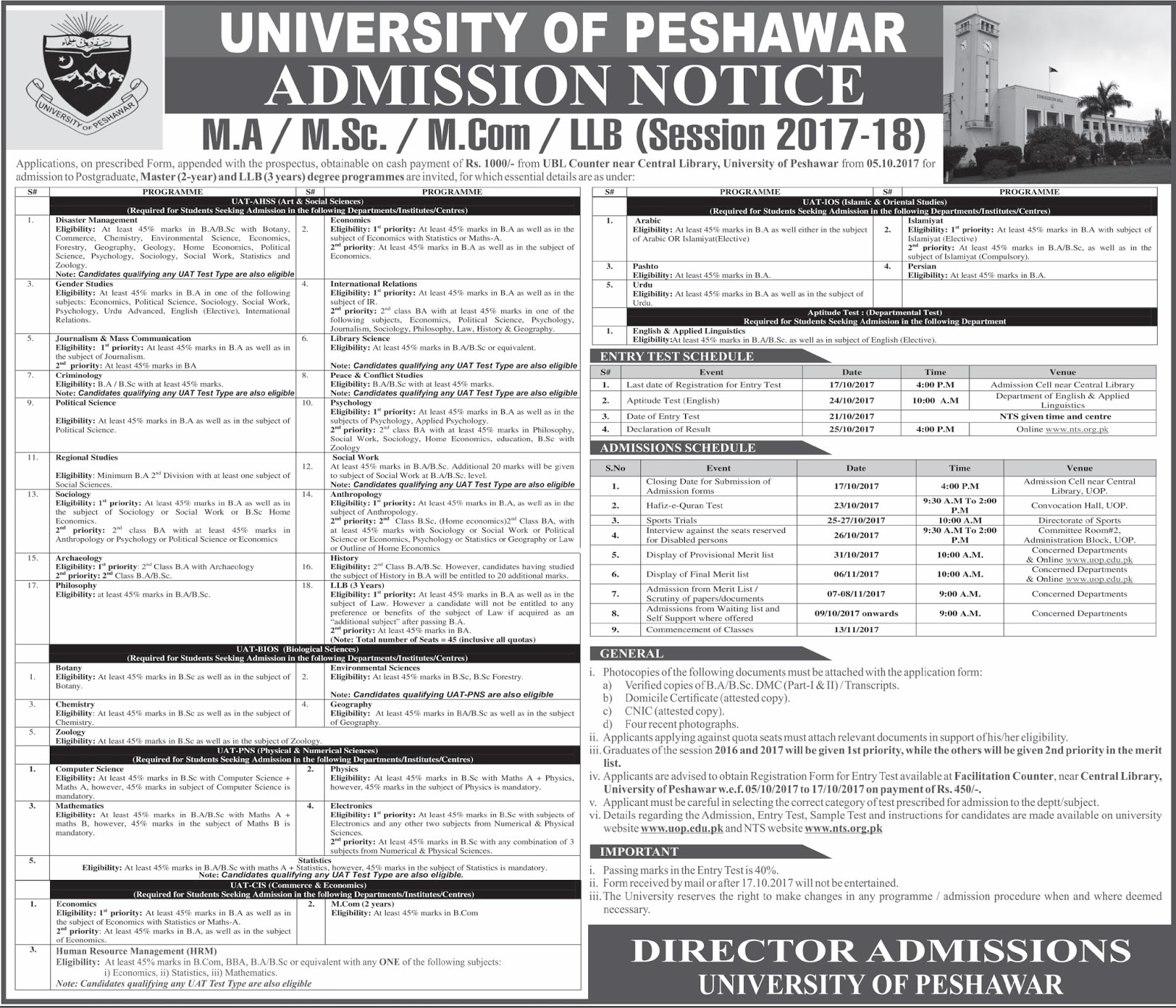 Admissions Open in University of Peshawar - 2017