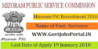 Mizoram Public Service Commission Recruitment 2018–Surveyor