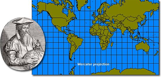 Projeção de Mercator, a mais utilizada porém mais incorreta