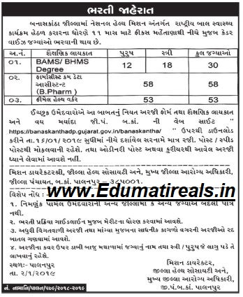 NHM Banaskantha Recruitment 2019