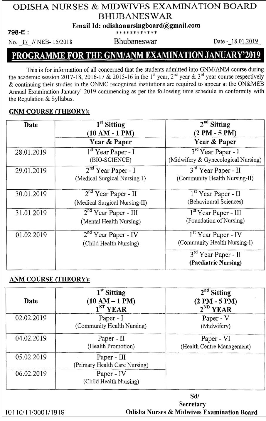 Odisha ON&MEB Programme/Time Table for the GNM/ANM