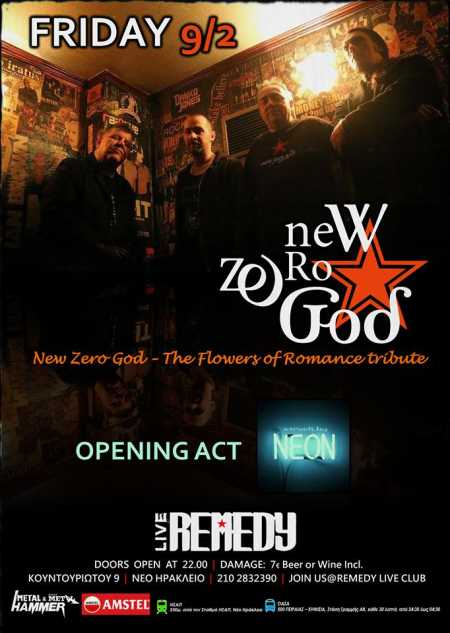 NEW ZERO GOD: Παρασκευή 9 Φεβρουαρίου @ Remedy Live Club w/ Struck By Neon