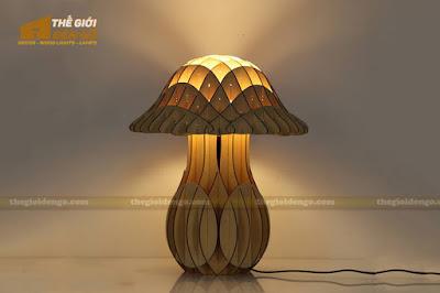 Thế Giới Đèn Gỗ - Đèn gỗ trang trí để bàn cây nấm TGDG-10