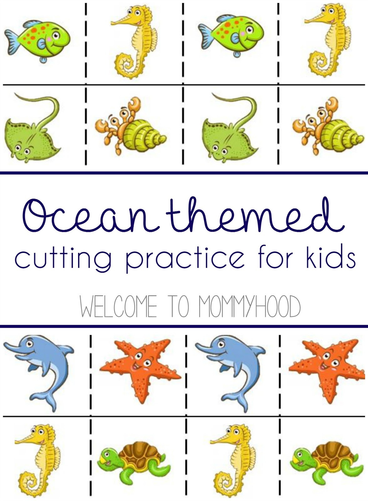 photo relating to Cutting Practice Printable named A lead in the direction of chopping pursuits and totally free ocean themed reducing
