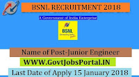 Bharat Sanchar Nigam Limited Recruitment 2018 – 107 Junior Engineer