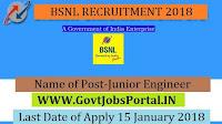 Bharat Sanchar Nigam Limited Recruitment 2018 – 107 Junior Engineer