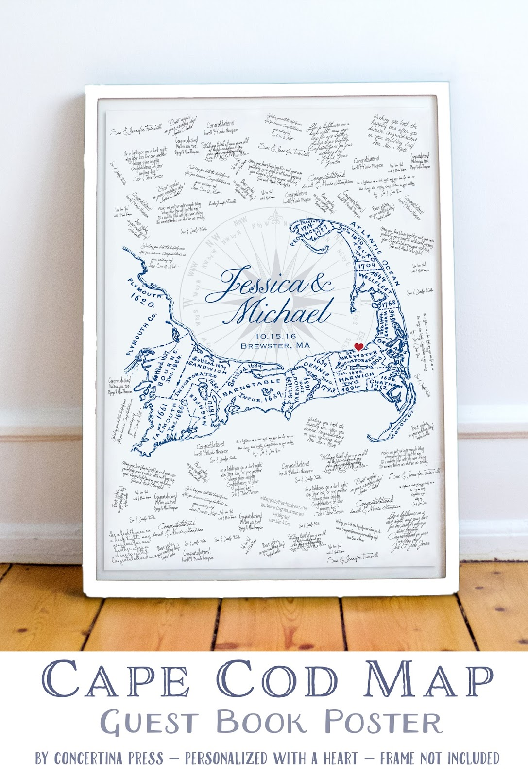 Alternative Cape Cod Guest Book Poster from Concertina Press
