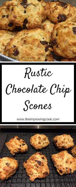 Images of chocolate chip scones with text