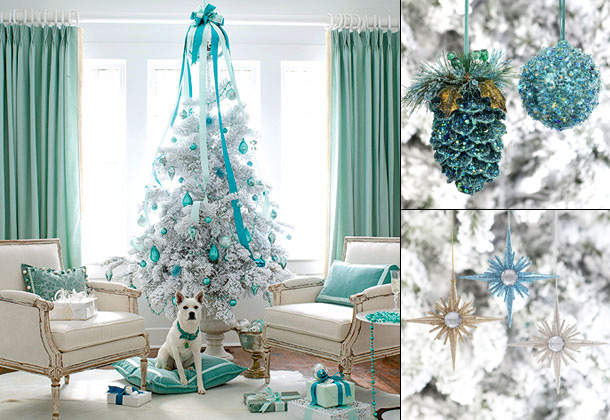 White christmas tree with blue and green decorations
