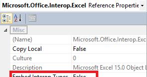 VS 2010 compiler error: Interop type XXX cannot be ...