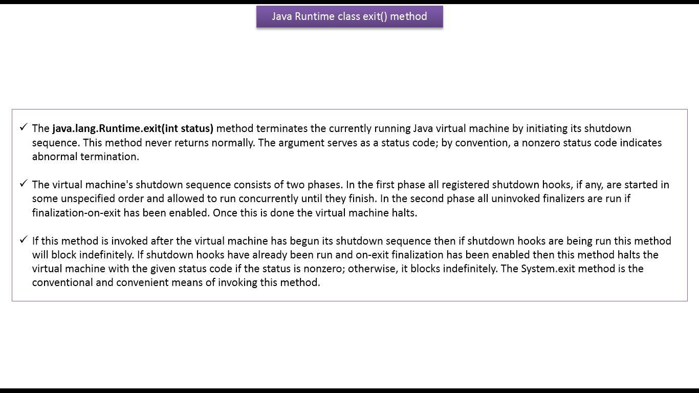 Java ee java tutorial java runtime class how to terminate jvm java tutorial java runtime class how to terminate jvm using exit method baditri Gallery