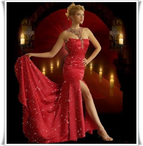 Uma jovem com um belo vestido longo vermelho, sem os sapatos.
