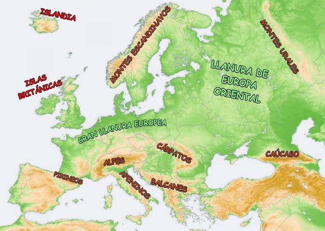 Resultado de imagen de el relieve de europa para 6 de primaria