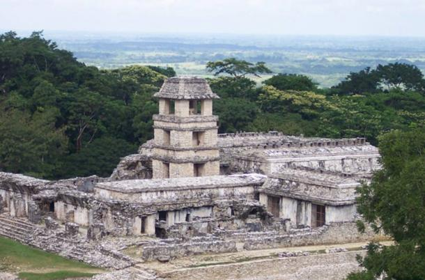 Ritual Mask of Legendary 7th century Maya King Pakal the Great has been unearthed in Mexico  Palace-and-watchtower-at-Palenque_0