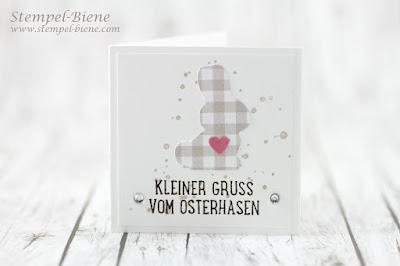 Osteridee; Osterdeko stampin up; Ostergeschenke basteln; Osterkarte mit Hase; Osterkarte mit Herz; Ostern stampinup; Bloghop Ostern; Stempel-Biene