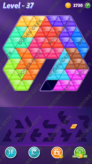 Block! Triangle Puzzle Grandmaster Level 37 Solution, Cheats, Walkthrough for Android, iPhone, iPad and iPod
