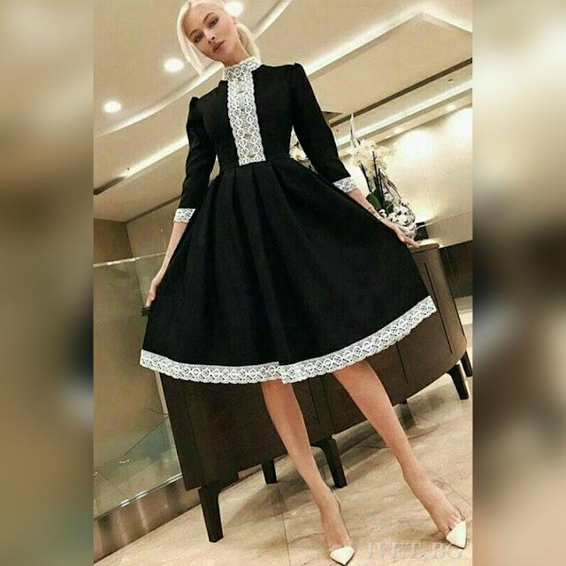 Μακρυμάνικο μίντι μαύρο και άσπρο φόρεμα BETTY