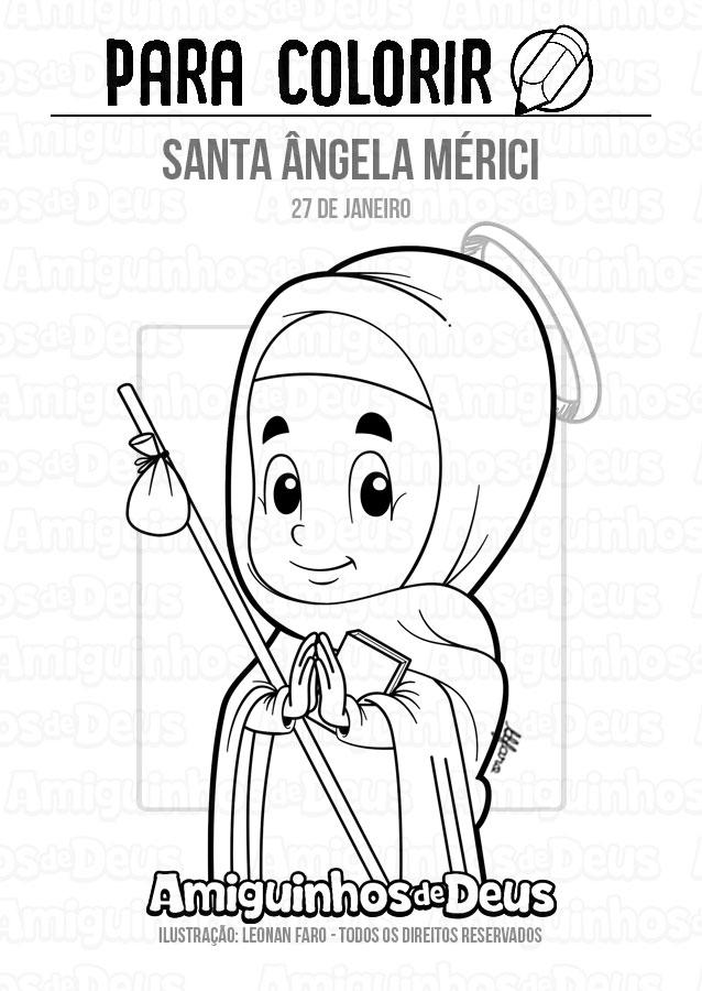 Santa Ângela Mérici desenho para colorir