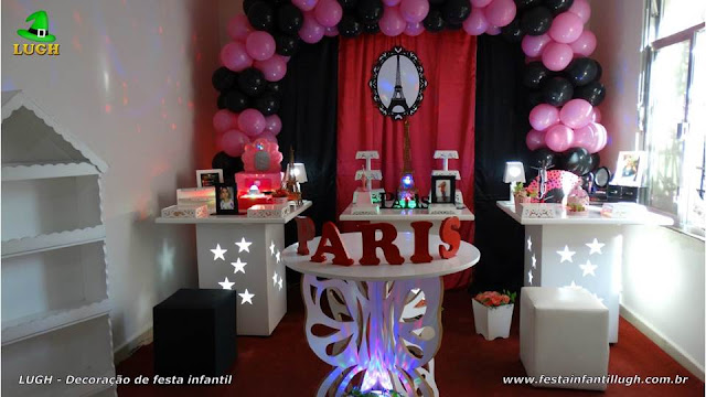 Decoração de festa Paris para aniversário infantil feminino