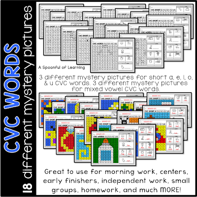 Math and Literacy Mystery Pictures - CVC WOrds